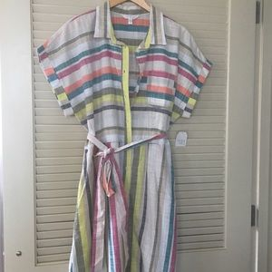 Time&Tru linen belted dress with collar & stripes